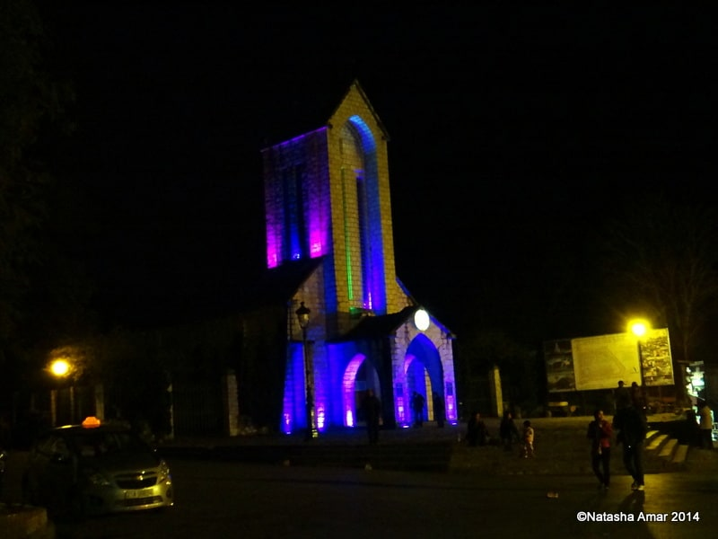 The Church lit up by night