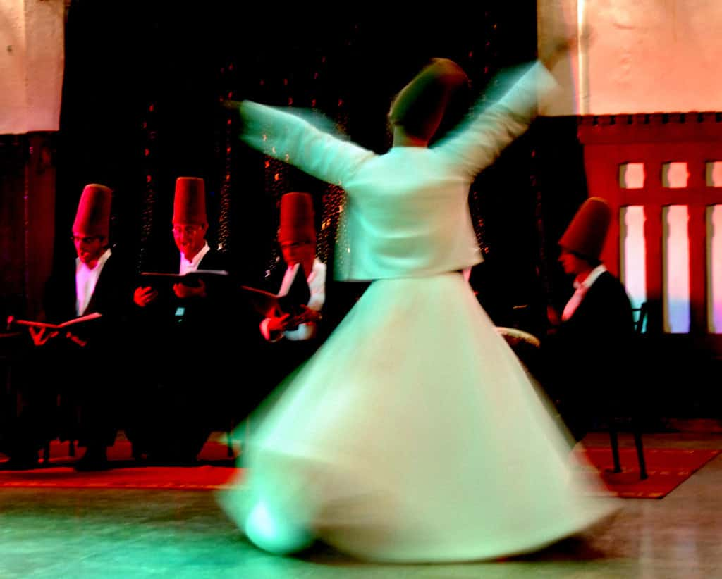 The dance of the whirling dervishes at the Mevlevi Sema ceremony in Istanbul