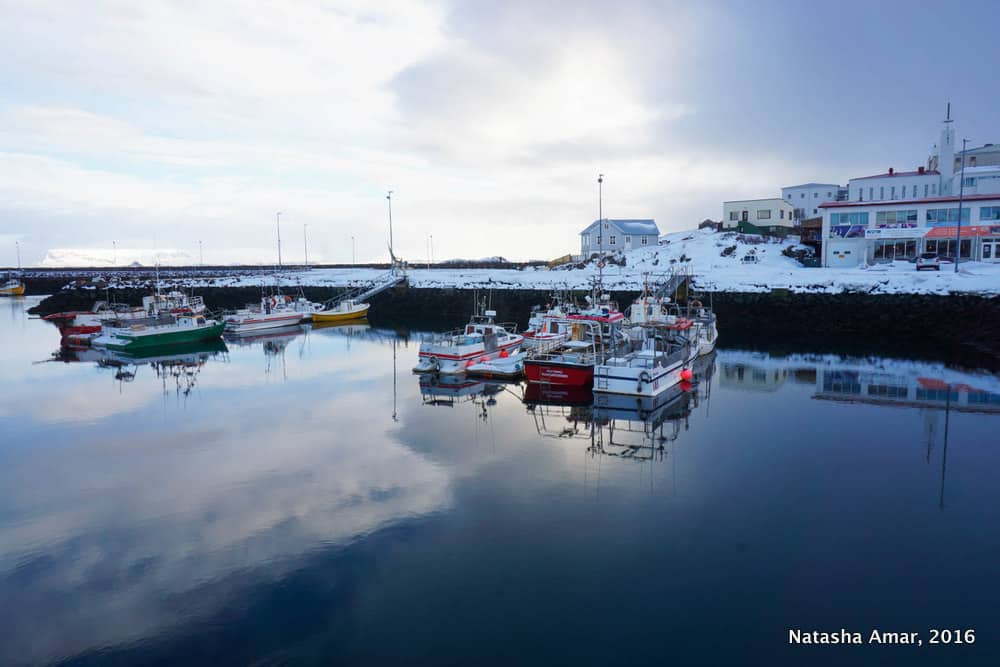 Stykkisholmur Harbour-West Iceland Highlights- Snaefellsnes Peninsula: Remote and dramatic landscapes minus the crowds of the South Coast of Iceland, the Snaefellsnes Peninsula should be a must-do on your Iceland itinerary.