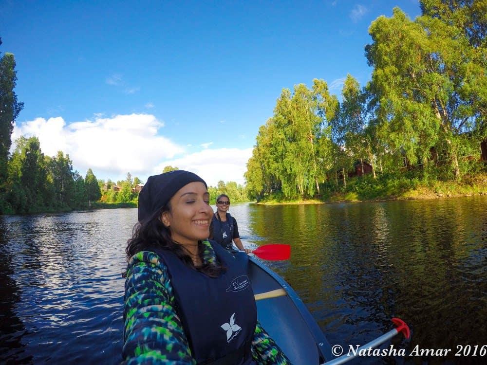 Paddling on the Skellefteå River in Swedish Lapland