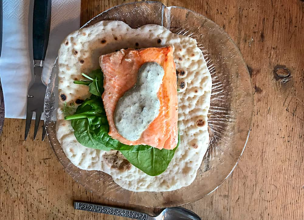 A Taste of the Arctic in Swedish Lapland: Arctic Char with traditional Sámi bread and salad