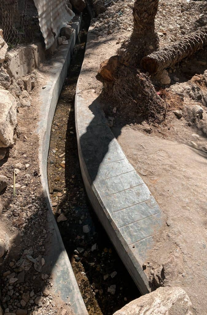 Falaj irrigation channels along the trail in Wadi shees